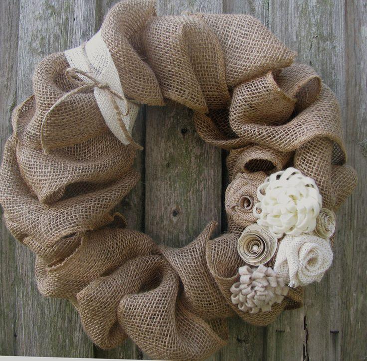 burlap wreath embellishment idea for winter after Christmas