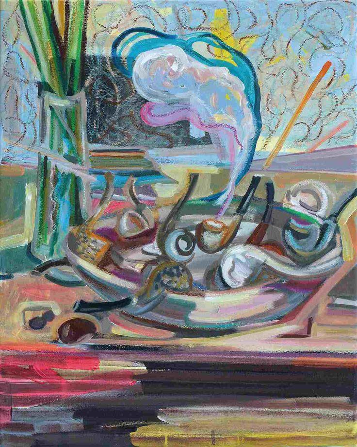 Wolfgang Neumann, Begrifflich, 2014, Acryl und Ölkreide auf Leinwand, 50 x 40 cm // Wolfgang Neumann - Kopfstand. Aras Ören zum 75.Geburtstag, Egbert Baqué Contemporary Art, Berlin.