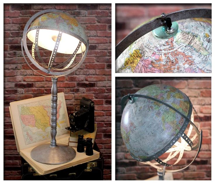 """I made this amazing One Of A Kind table or floor lamp. I call it my """"What's this world coming to?"""", it's an Industrial Steam Punk re-purposed world globe i"""