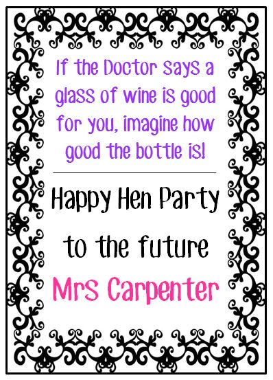 Hen Wine Bottle Labels, Add a touch of class with these personalised Wine Bottle Labels.