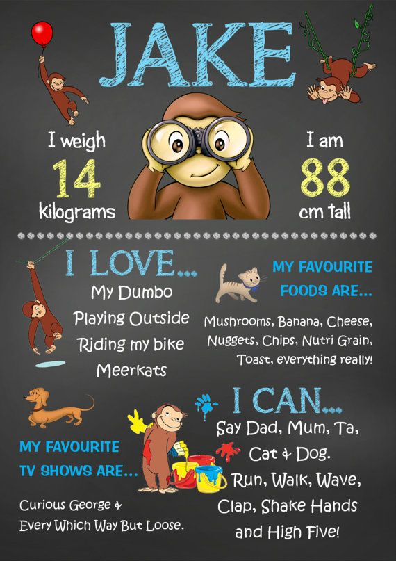 Curious George Chalkboard Poster  JPEG File  by KleezPrints