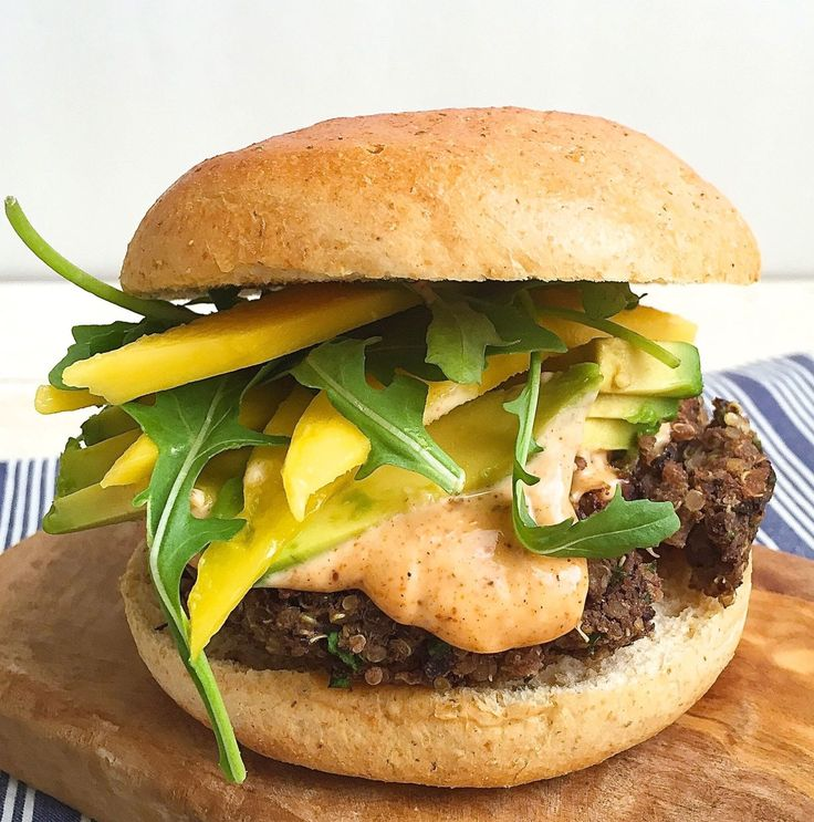 Black Bean-Quinoa Burgers with Spicy Mayo, Avocado, and Mango  - Delish.com