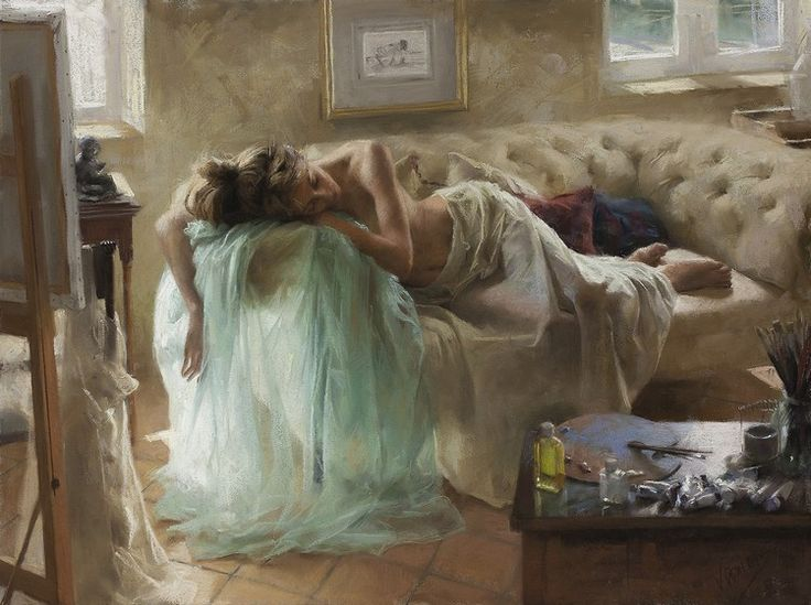 Vicente Romero Gorgeous Pastel Paintings In Luminous And Peaceful Mediterranean Setting  #art #figurative #painting #spain #vicenteromero
