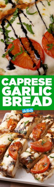 You're going to wish this Caprese Garlic Bread was free at every restaurant. Get the recipe from Delish.com.