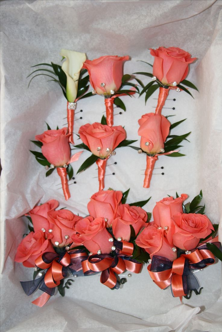 coral and navy wedding flowers