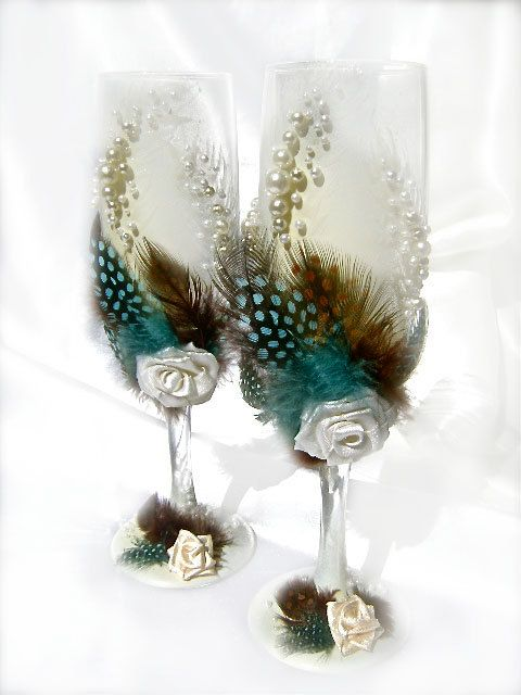 Hand Decorated Wedding Champagne Glasses
