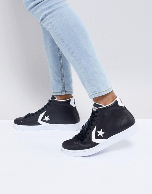 7c3bdfea99f4 Converse Pro Leather Mid Sneakers In Black 157717C