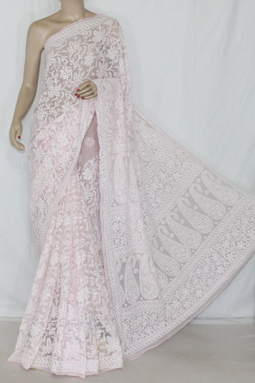 Baby Pink Allover Hand Embroidered Lucknowi Chikankari Saree (With Blouse - Georgette) 12702