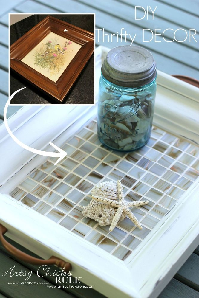 Thrifty Frame/Print Turned Tiled Coastal Tray.... Have an old picture and frame lying around?