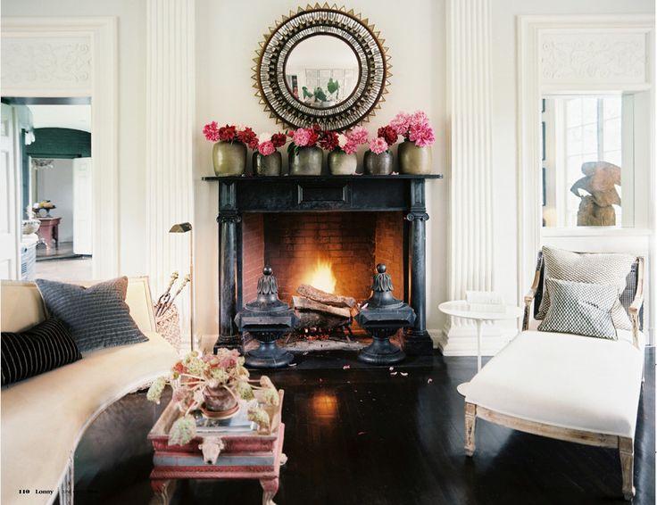 Black painted fireplaceDecor, Living Rooms, Livingroom, Fireplaces, Interiors Design, Black, Flower, Mantles, Lonny Magazine