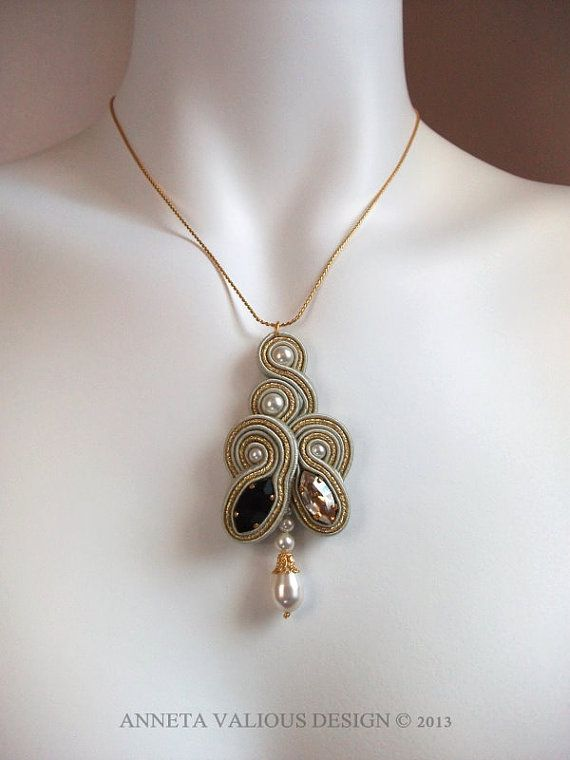 Soutache embroidered pendant ChampsElysees by AnnetaValious, $105.00