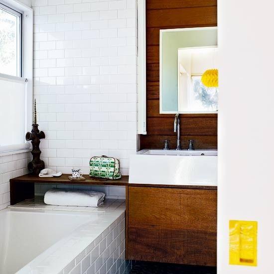 white subway tiles + wood | housetohome