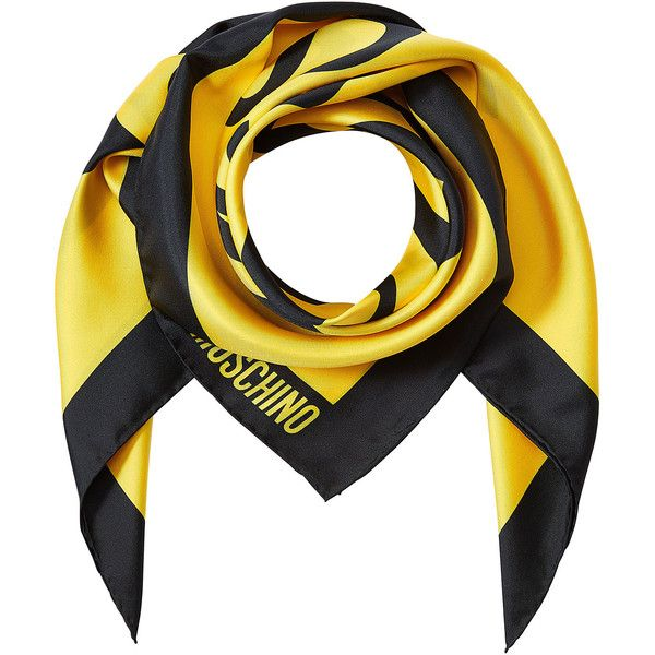 Moschino Printed Silk Scarf ($140) ❤ liked on Polyvore featuring accessories, scarves, yellow, colorful scarves, colorful shawl, moschino, multi colored scarves and silk shawl