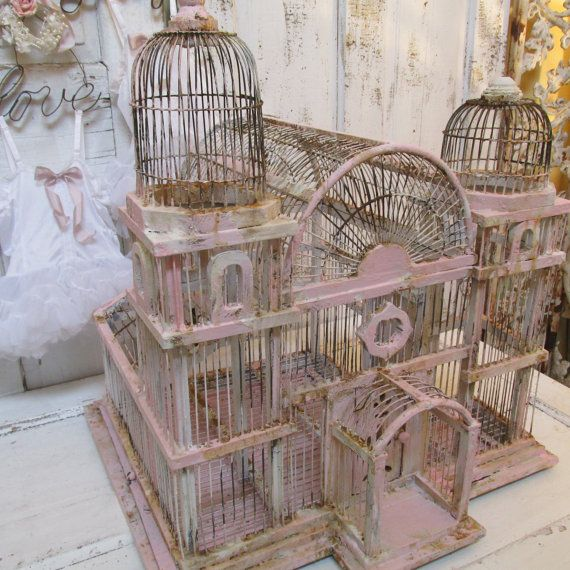 Wood and wire birdcage large distressed pink rusty shabby chic bird cage peely cracking hand painted home decor anita spero