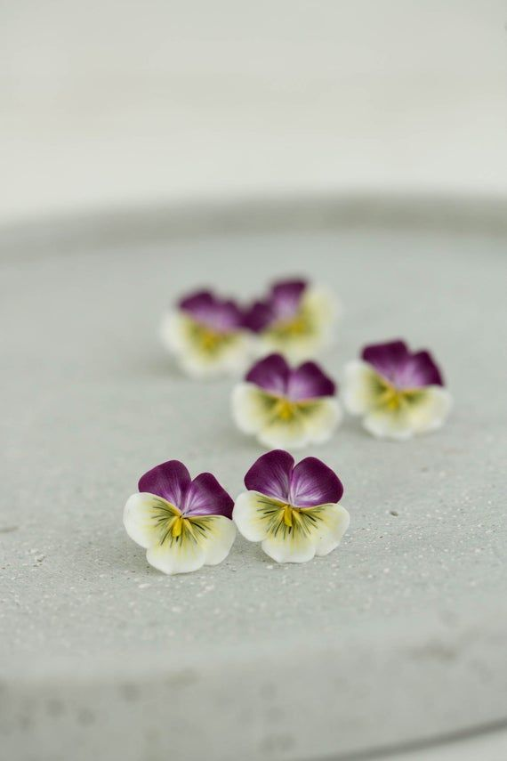 Pansy Earrings Flower Jewelry Clay Earrings Flower Stud Earrings Bridal Earrings Hypoallergenic Studs Pansies Handmade Wedding Instead Of Flowers
