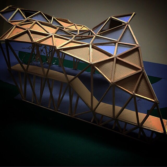 Architecture model triangle structure bike parking bicycle wood