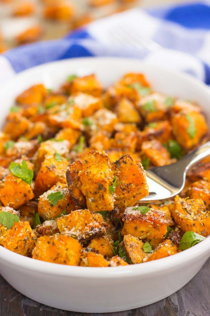 These Roasted Parmesan Herb Sweet Potatoes are seasoned with a blend of Parmesan…