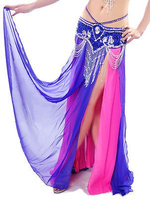 Professional New Sexy Belly Dance Costume Dual Color Slit Skirt 11 Colors | eBay