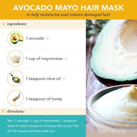 At home avocado mayo hair mask #diy #beauty