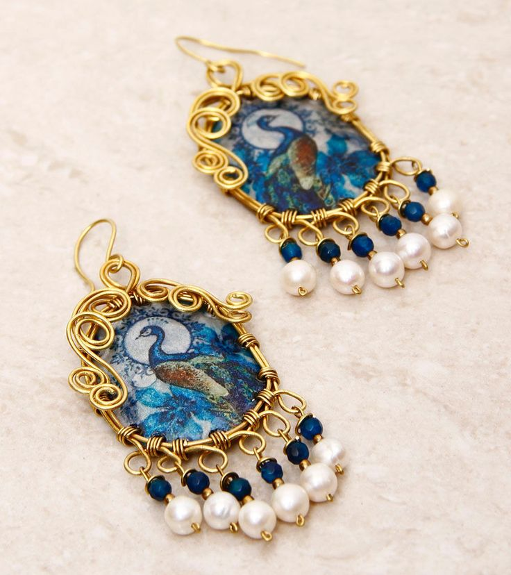SILVER NUT TREE - Blue Painted & Embellished Pet Plastic Earrings Click on the photo to shop!