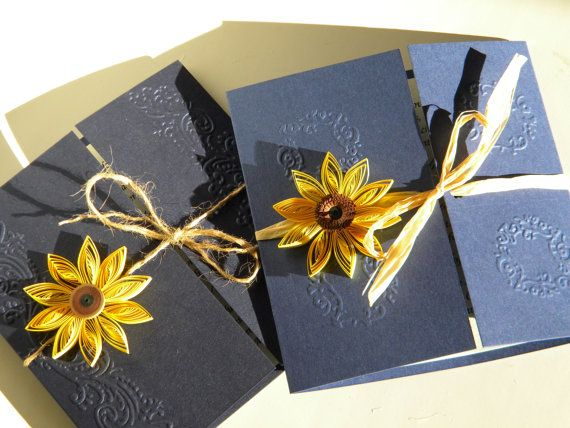 Sunflower and navy blue wedding invitation / by ZannaPaper on Etsy
