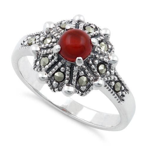 Sterling Silver Round Red Agate Flower Marcasite Ring