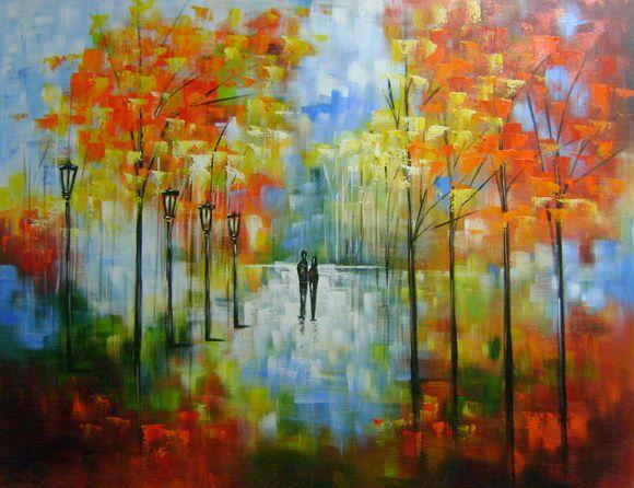 Painting Quadro pintado a mão paisagem impressionista à venda .Artista Katia Almeida
