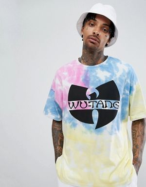 f9a03756cdb4d ASOS DESIGN Wu Tang Clan hip hop oversized t-shirt with tie dye ...