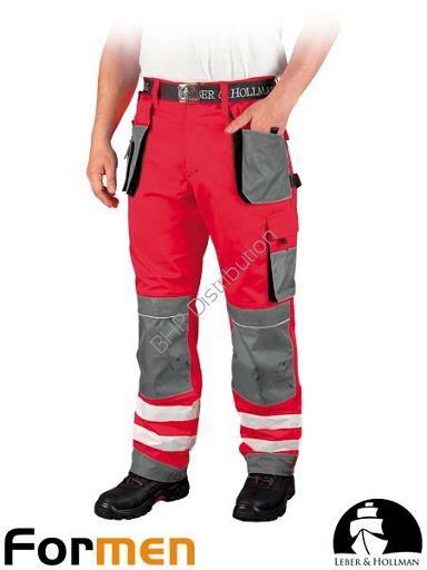 Czerwone spodnie robocze do pasa z pasami odblaskowymi LH-FMNX-T (CSB)
