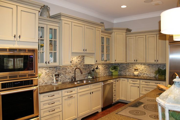 Kitchen Countertops Fancy Beige Kitchen Cabinet Made Of Wood Designed For…