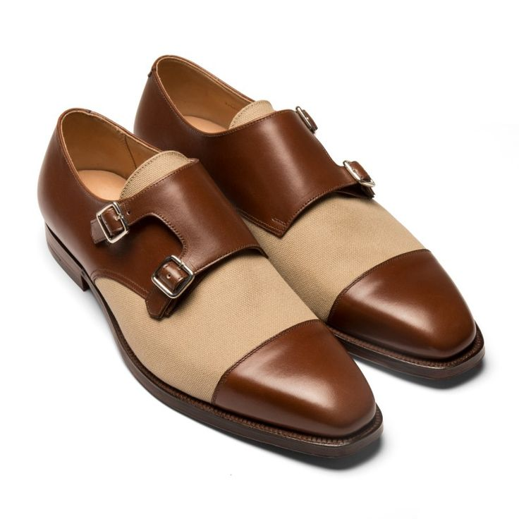 Brown Leather & Cream Canvas Double-Monk Strap, Leather Lined and Leather Sole, Benchmade in England.