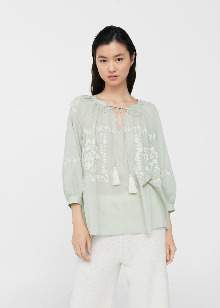 Bawełniana bluzka z haftem | MANGO