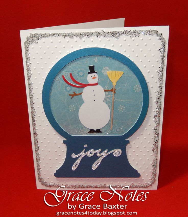 Snowman Snow Globe, frosty and shimmery. Visit gracenotesAllAboutChristmas.blogspot.com for more Christmas card ideas.