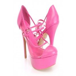 Fuchsia Maryjane Style High Heels Faux Leather