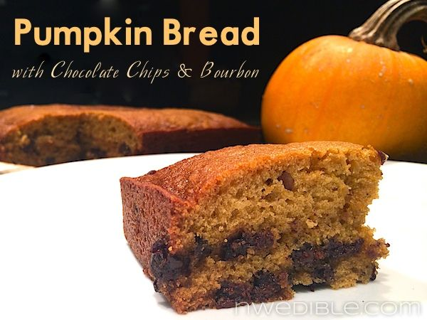 Pumpkin Bread with Chocolate Chips and BourbonPumpkin Flavored, Bourbon, Pumpkin Breads, Chocolate Chips, Chocolates Chips, Food, Pumpkin Ales, Breads Muffins, Chocolates Frostings