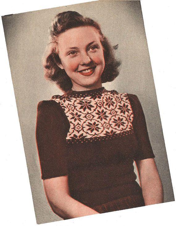 1940s Knitting Pattern for Womens Norwegian Snowflake Jumper - Short puffed Sleeves - Digital PDF