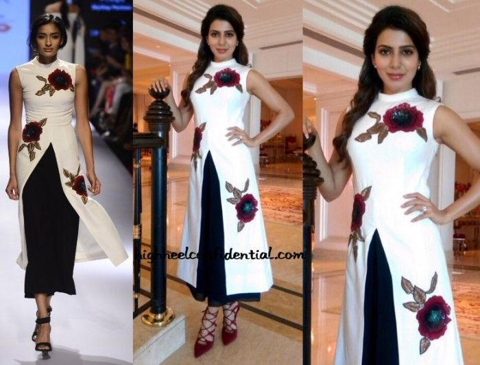 Samantha gave an interview on TV for promotions of 10 Endrathukulla wearing a Ridhi Mehra look. Picking up on the red embroidered flowers of the tunic, she finished out her look with strappy Stuart Weitzman heels. I have a feeling that the footwear here will either make you like or dislike the look. As for …