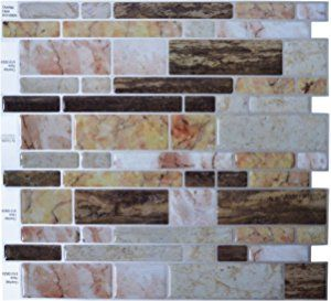 "Crystiles® Peel and Stick Self-Adhesive Vinyl Wall Tiles, Multi-Color Marble Style, Item# 91010829, 10"" X 10"", Set of 6"