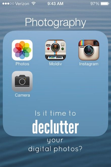 Digital photos can be a major source of clutter! Pictures of kids, family events, & every day Instagrams can give you digital disorganization in a hurry! Here's how to declutter and organize your digital photos...