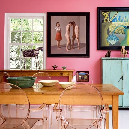 pink walls: Dining Rooms, Interior Design, Dining Area, Pink Walls, Color, House, Kitchen, Bright House, Ghost Chairs
