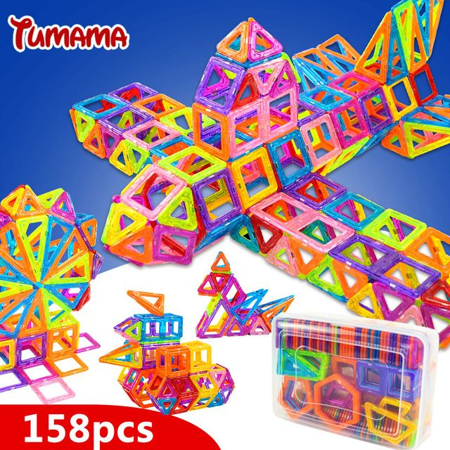 TUMAMA Mini 158pcs Magnetic Blocks Toys Construction Model Magnetic Building Blocks Designer Kids Educational Toys For Children