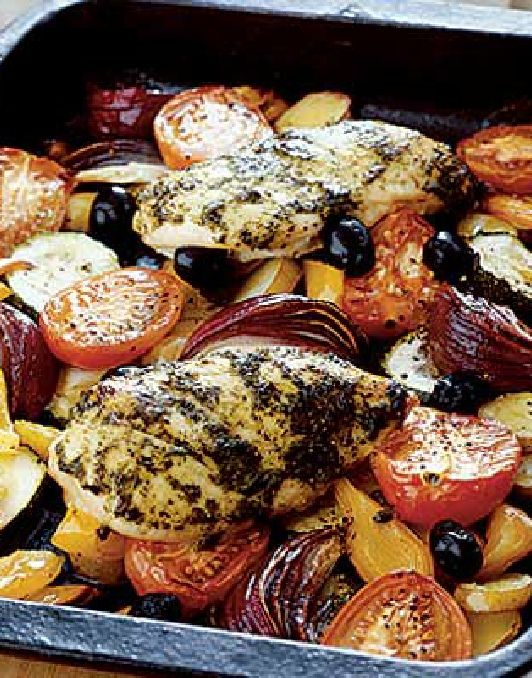 Low FODMAP and Gluten Free Recipes - Mediterranean chicken with roasted vegetables
