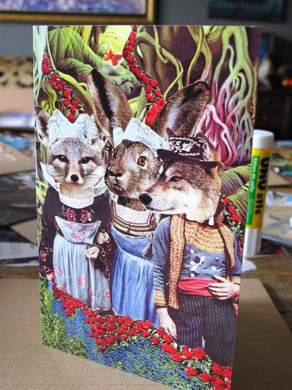Collage Print Greeting Card Fantasy Folk by Amanda by ArtFarmEtsy