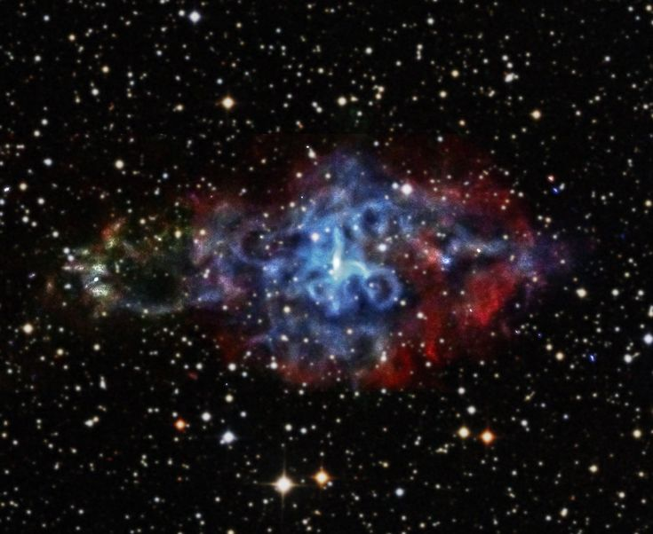3C58 is the remnant of a supernova observed in the year 1181 AD by Chinese and Japanese astronomers. It is located in the direction of Cassiopeia and is estimated to be 10,000 light-years away. This new Chandra image shows the center of 3C58, which contains a rapidly spinning neutron star surrounded by a thick ring, or torus, of X-ray emission. The pulsar also has produced jets of X-rays blasting away from it to both the left and right, and extending trillions of miles.