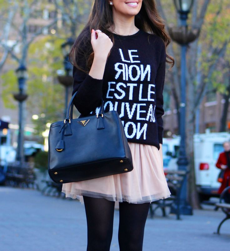 Cute fall style with oversized sweater and tulle skirt