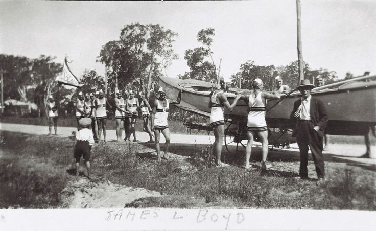 The launching of the first surf boat for Caves Beach, NSW, 1929