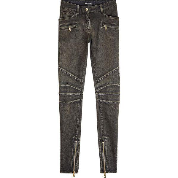 Balmain Biker Jeans (36,280 THB) via Polyvore featuring jeans, grey, zipper denim jeans, gray denim jeans, zip jeans, balmain и grey biker jeans