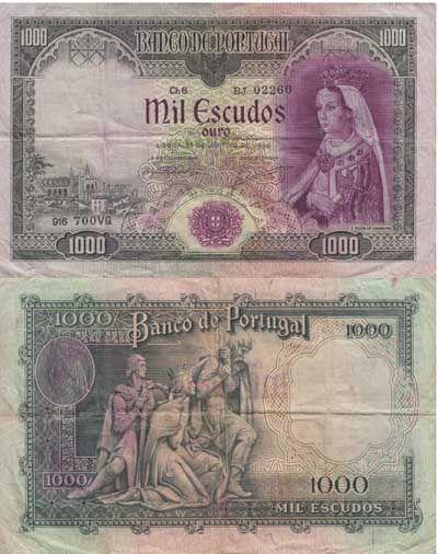 PORTUGAL - NOTA DE 1000 ESCUDOS 1956 Ch. 8 ( CIRCULADA )