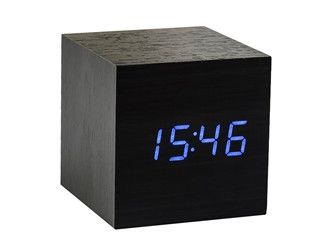 Cube Black Click Clock / Blue LED
