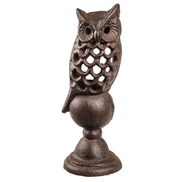 "3 x 3 x 7УТО"" Cast Iron Owl Lantern in Antique Brown Finish"